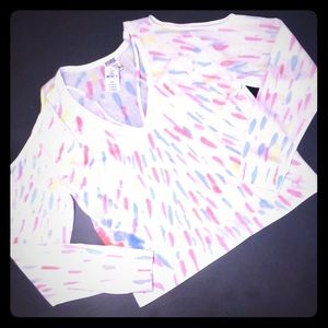 Pink VS cut-out shoulders long sleeve shirt